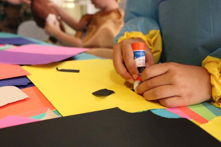 Children create artwork as a part of the 2019-2020 artist in residence project